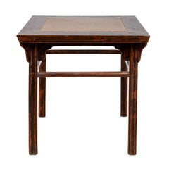Chinese 19th Century Elmwood Center Hall Table with Ming Dynasty Stone Inset