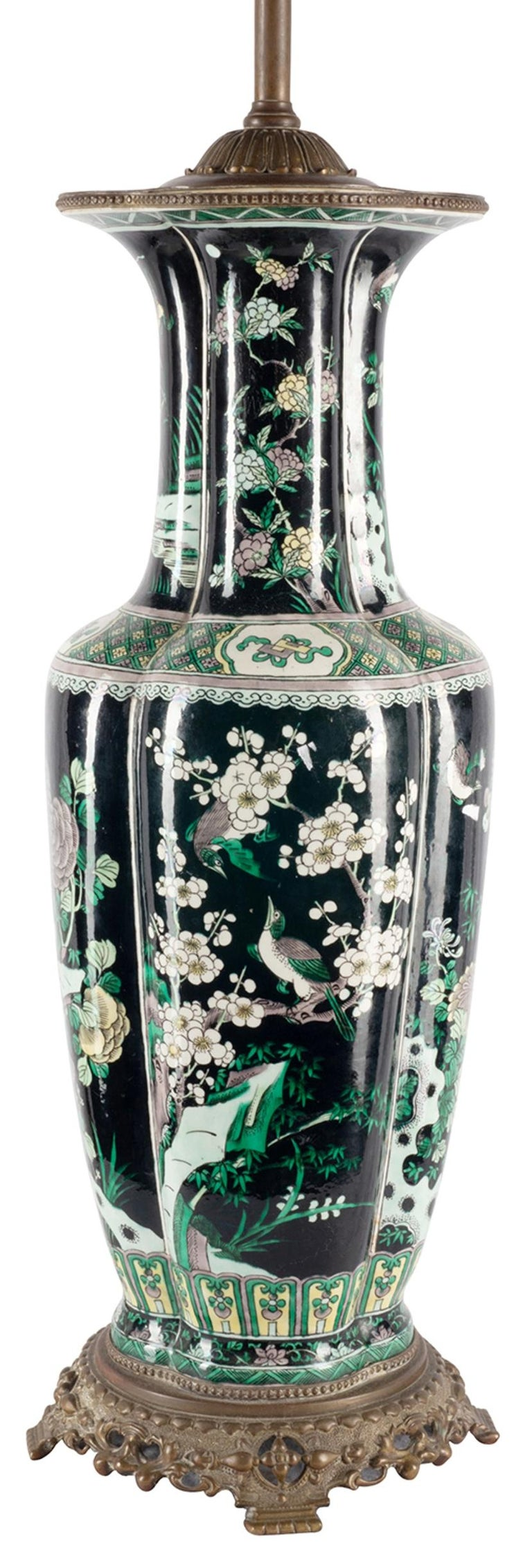 Chinese 19th Century Famille Noire Vase / Lamp For Sale 4