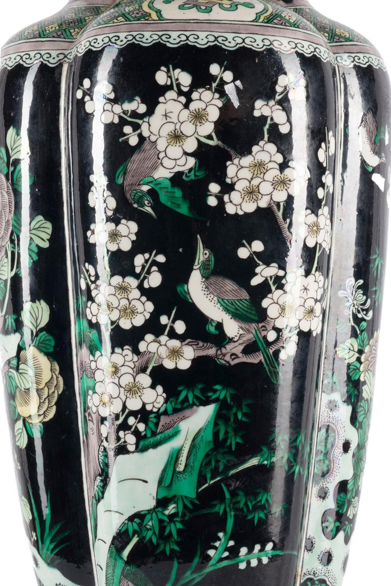 Chinese 19th Century Famille Noire Vase / Lamp For Sale 5