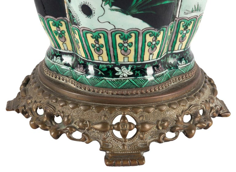 Chinese Export Chinese 19th Century Famille Noire Vase / Lamp For Sale
