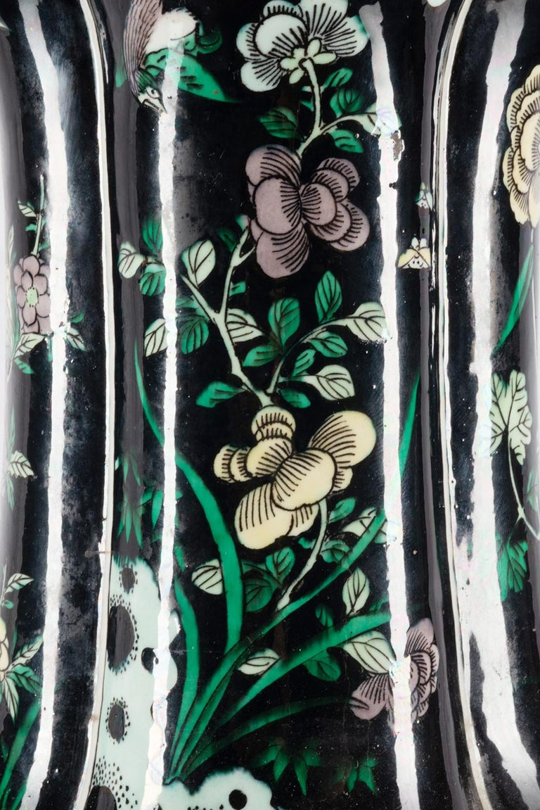 Hand-Painted Chinese 19th Century Famille Noire Vase / Lamp For Sale