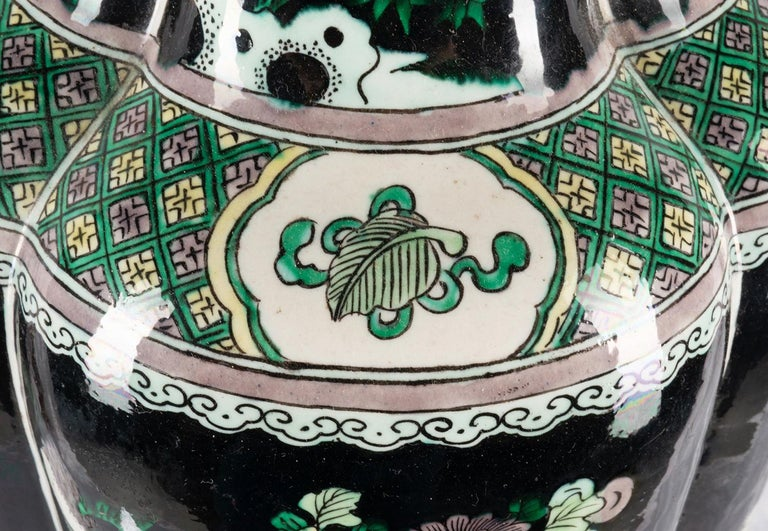 Chinese 19th Century Famille Noire Vase / Lamp In Good Condition For Sale In Brighton, Sussex