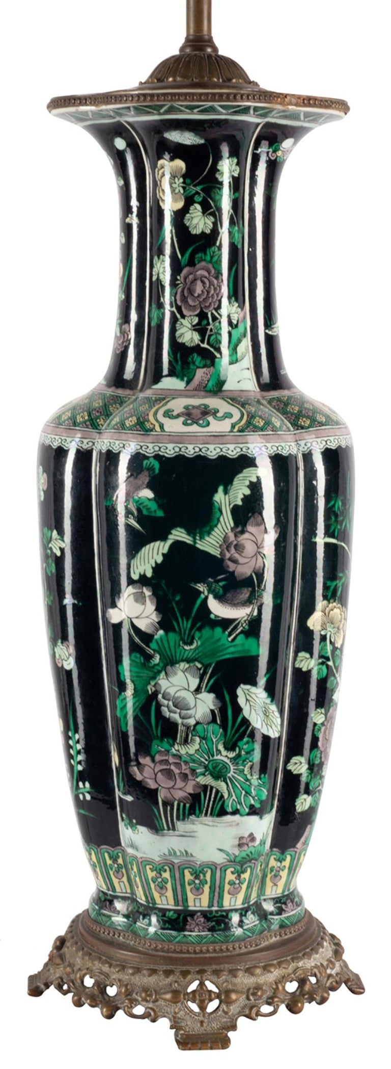 Chinese 19th Century Famille Noire Vase / Lamp For Sale 1