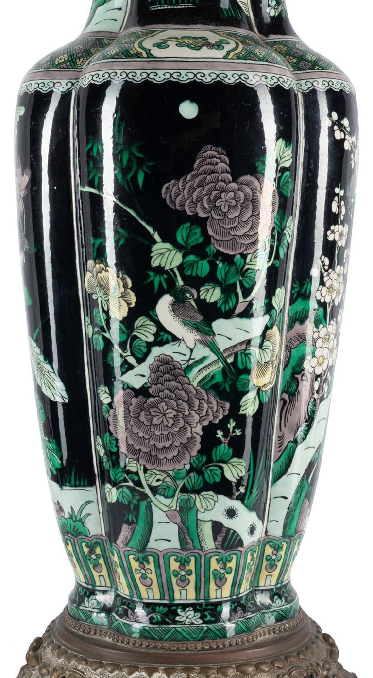 Chinese 19th Century Famille Noire Vase / Lamp For Sale 2