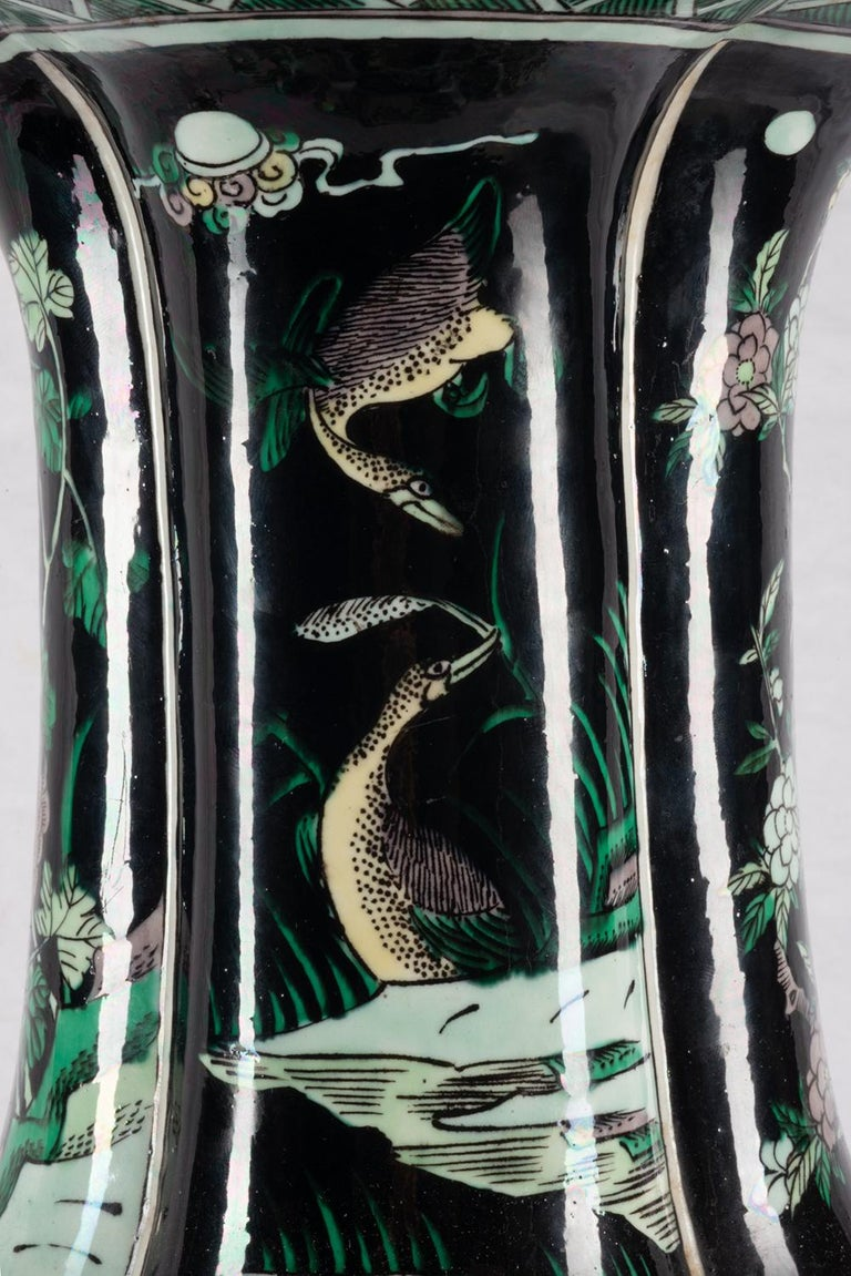 Chinese 19th Century Famille Noire Vase / Lamp For Sale 3