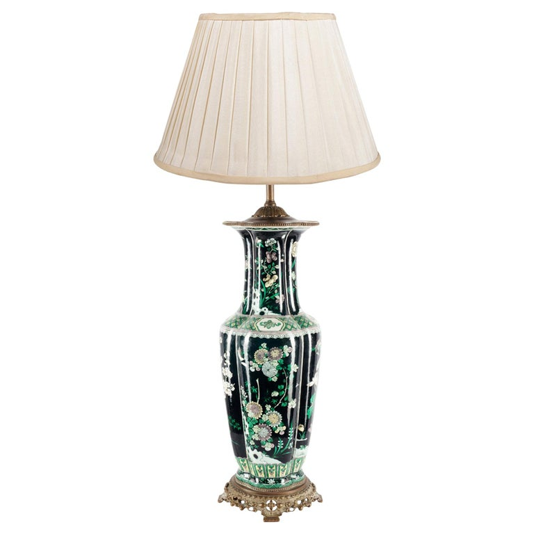 Chinese 19th Century Famille Noire Vase / Lamp For Sale