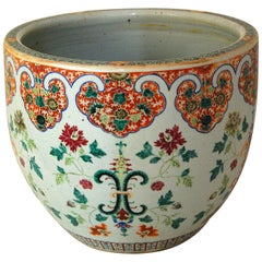 Chinese 19th Century Famille Verte Jardinière or Fishbowl with Floral Motifs