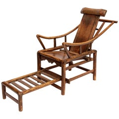 Chinese 19th Century Handcrafted Adjustable Yoke Back Wooden Lounge Chair, 1850s