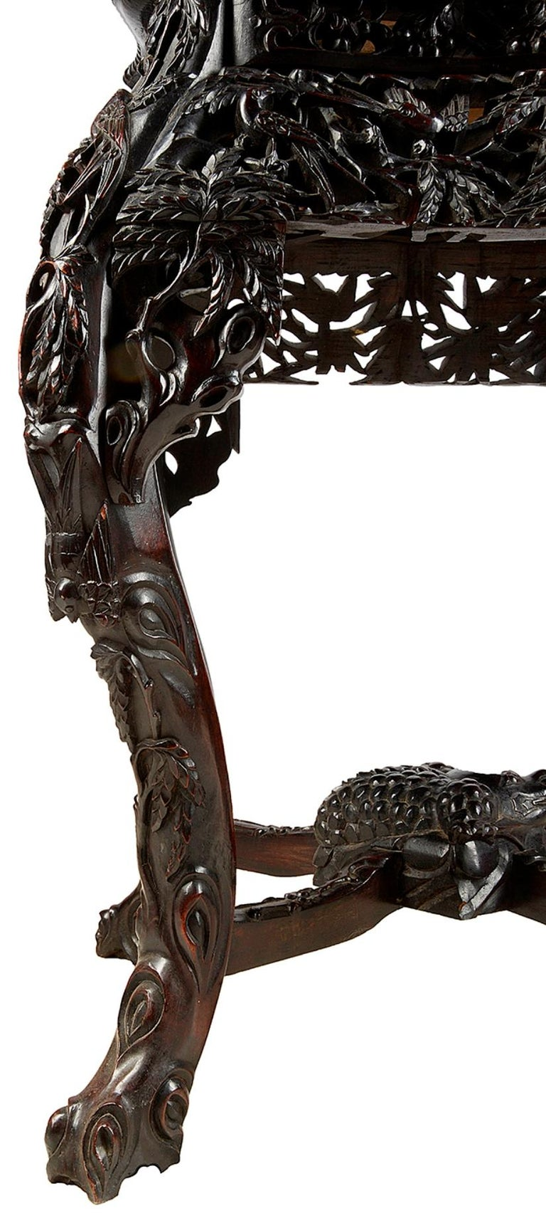Hand-Carved Chinese 19th Century Hardwood Stand For Sale
