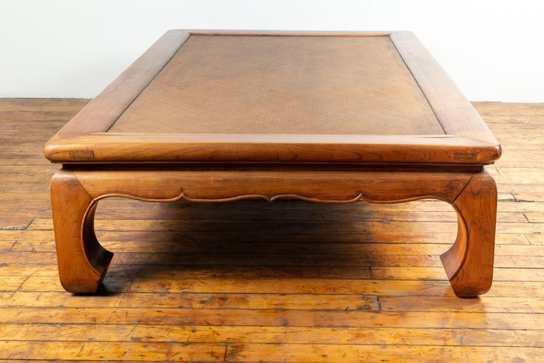 Chinese 19th Century Ming Dynasty Style Elm Coffee Table with Rattan Inset For Sale 8