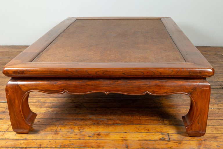 Chinese 19th Century Ming Dynasty Style Elm Coffee Table with Rattan Inset For Sale 10
