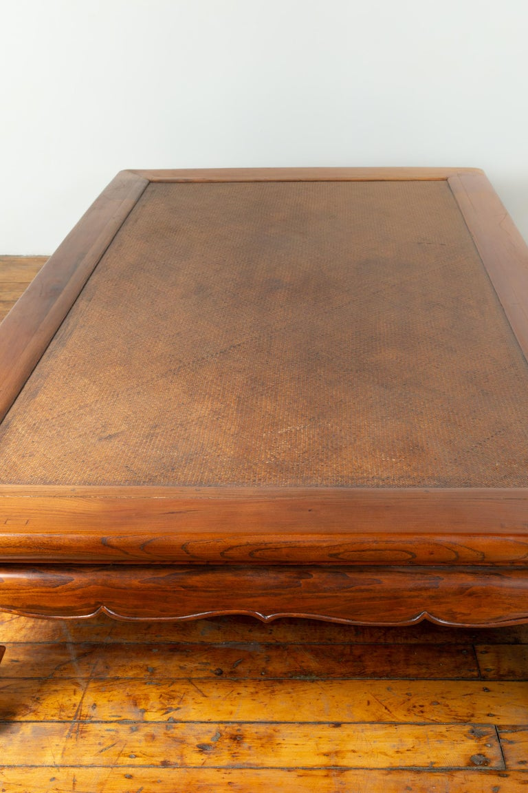 Chinese 19th Century Ming Dynasty Style Elm Coffee Table with Rattan Inset For Sale 11
