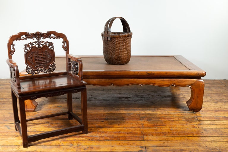 Chinese 19th Century Ming Dynasty Style Elm Coffee Table with Rattan Inset In Good Condition For Sale In Yonkers, NY