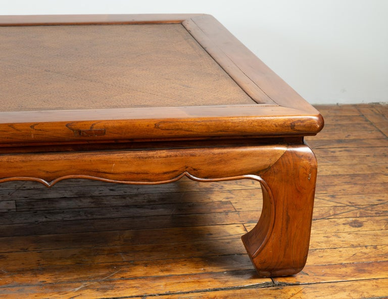 Chinese 19th Century Ming Dynasty Style Elm Coffee Table with Rattan Inset For Sale 3