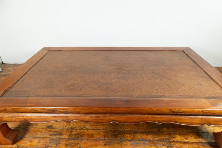 Chinese 19th Century Ming Dynasty Style Elm Coffee Table with Rattan Inset For Sale 4