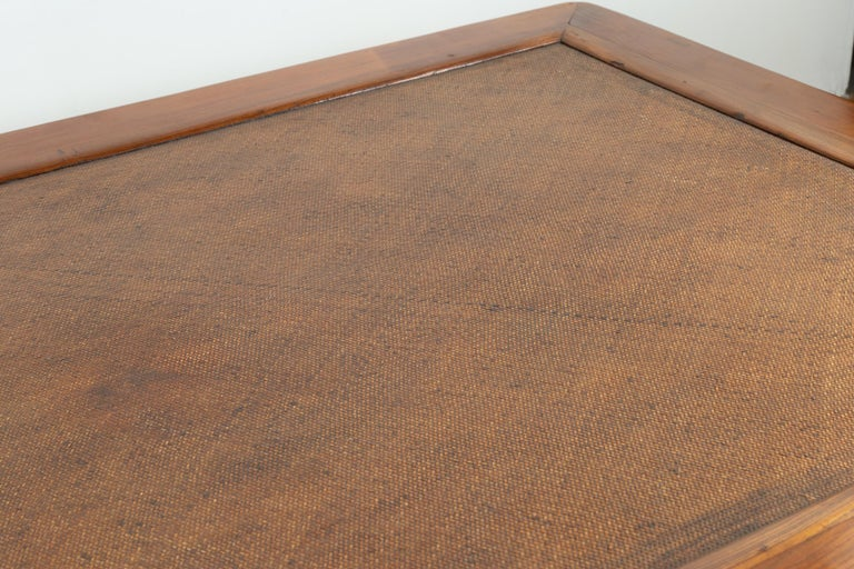 Chinese 19th Century Ming Dynasty Style Elm Coffee Table with Rattan Inset For Sale 6
