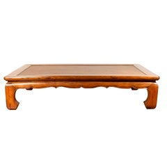 Chinese 19th Century Ming Dynasty Style Elm Coffee Table with Rattan Inset