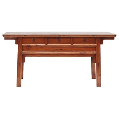 Chinese 19th Century Ming Style Peach wood Sideboard with Three Drawers