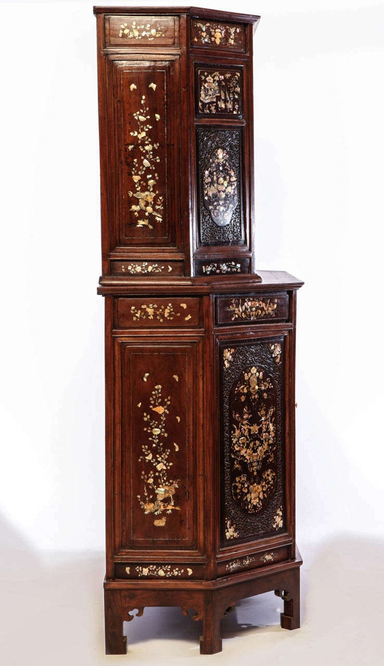 Chinese 19th Century Mother of Pearl Inlay Hardwood Carved Cabinet For Sale 8