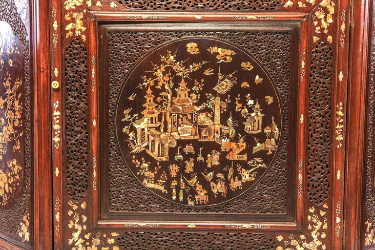 Chinese Chippendale Chinese 19th Century Mother of Pearl Inlay Hardwood Carved Cabinet For Sale