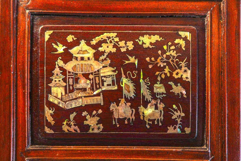 Chinese 19th Century Mother of Pearl Inlay Hardwood Carved Cabinet For Sale 3