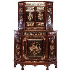 Chinese 19th Century Mother of Pearl Inlay Hardwood Carved Cabinet