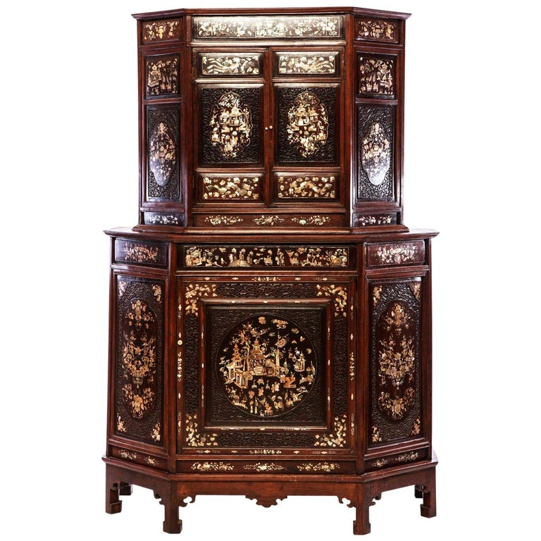 Chinese 19th Century Mother of Pearl Inlay Hardwood Carved Cabinet For Sale