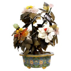Chinese 19th Century Multi-Color Jade, Hard-Stones & Cloisonné Flower Bouquet