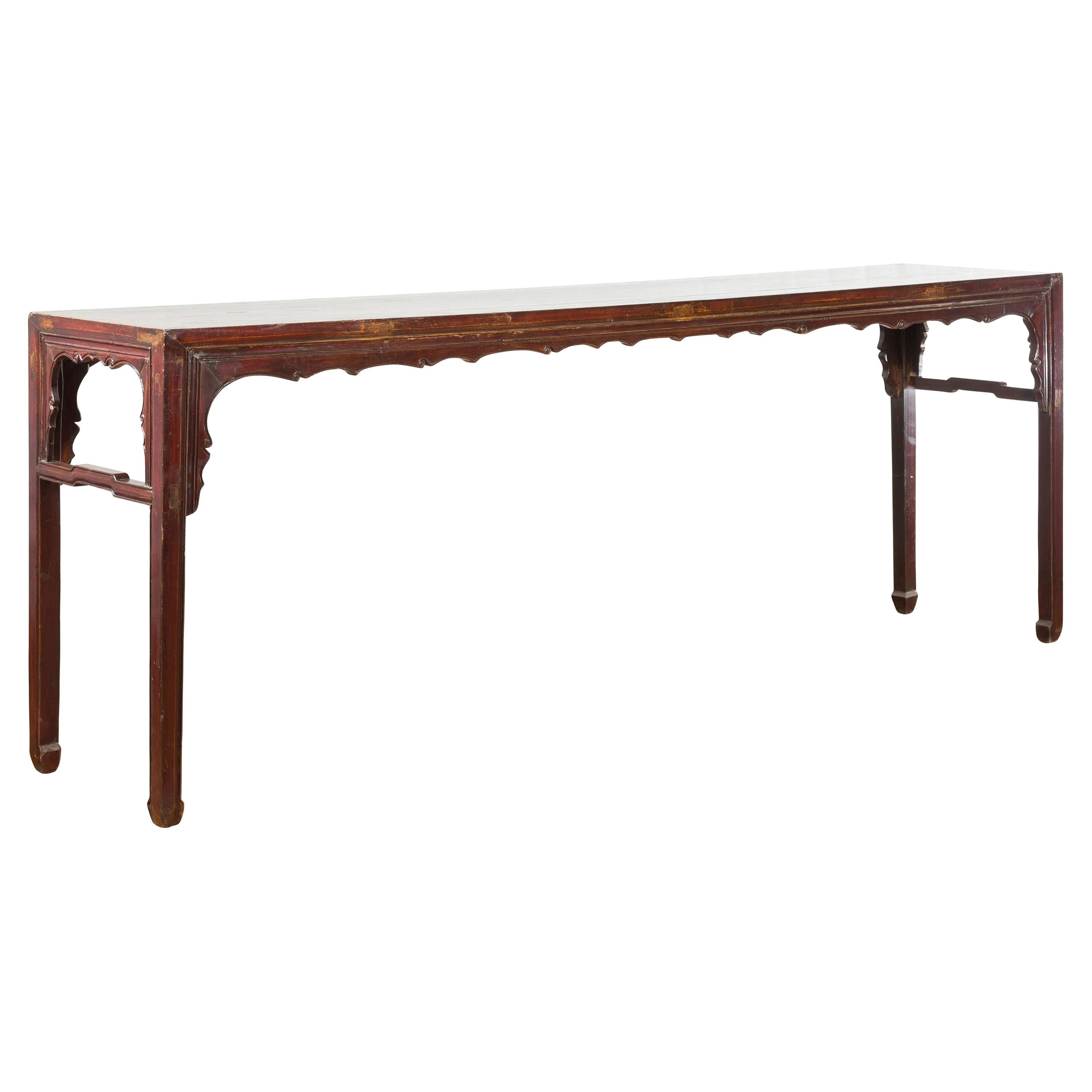 Chinese 19th Century Qing Dynasty Altar Console Table with Reddish Brown Patina