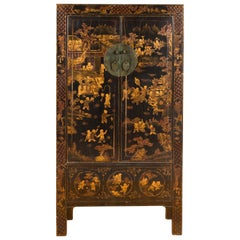 Chinese 19th Century Qing Dynasty Black and Gold Cabinet with Chinoiserie Decor