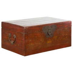 Chinese 19th Century Qing Dynasty Blanket Chest with Cinnabar Patina