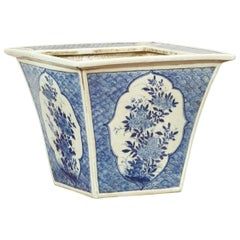 Chinese 19th Century Qing Dynasty Blue and White Planter with Floral Décor