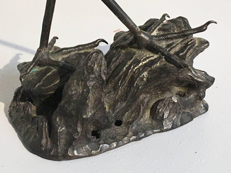 Chinese 19th Century Qing Dynasty Bronze Crane Form Censer For Sale 6