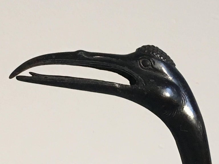 Chinese 19th Century Qing Dynasty Bronze Crane Form Censer For Sale 12