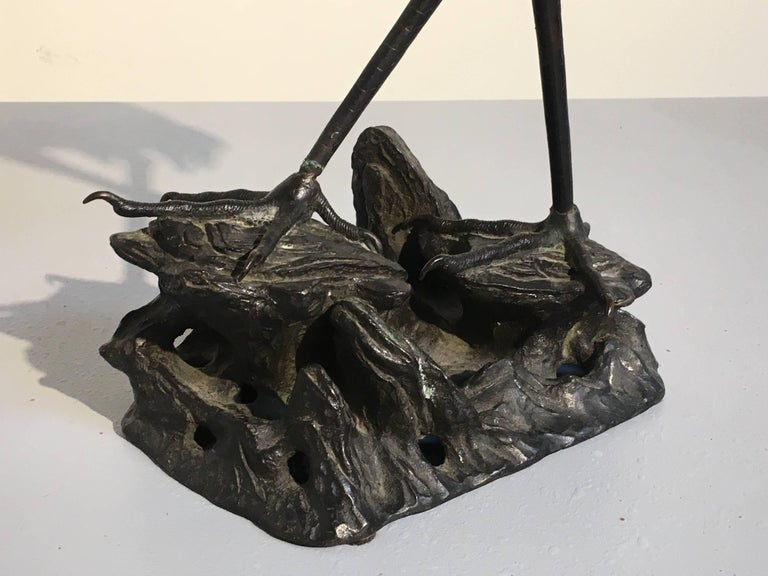 Chinese 19th Century Qing Dynasty Bronze Crane Form Censer For Sale 4