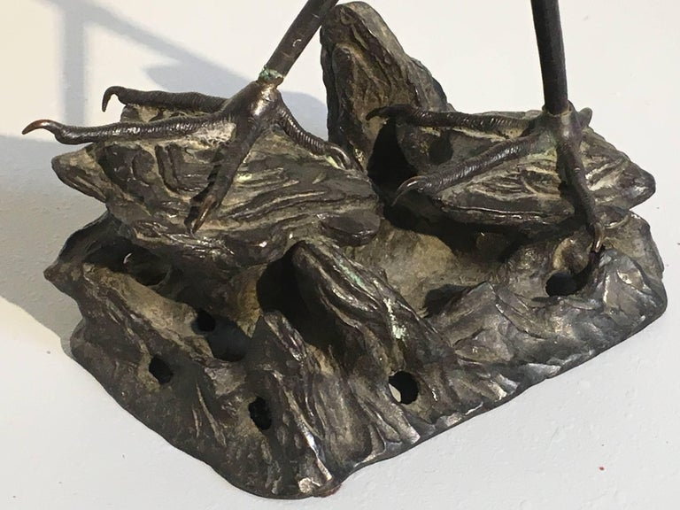 Chinese 19th Century Qing Dynasty Bronze Crane Form Censer For Sale 5