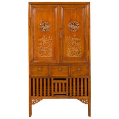 Chinese 19th Century Qing Dynasty Cabinet with Hand Carved Medallions