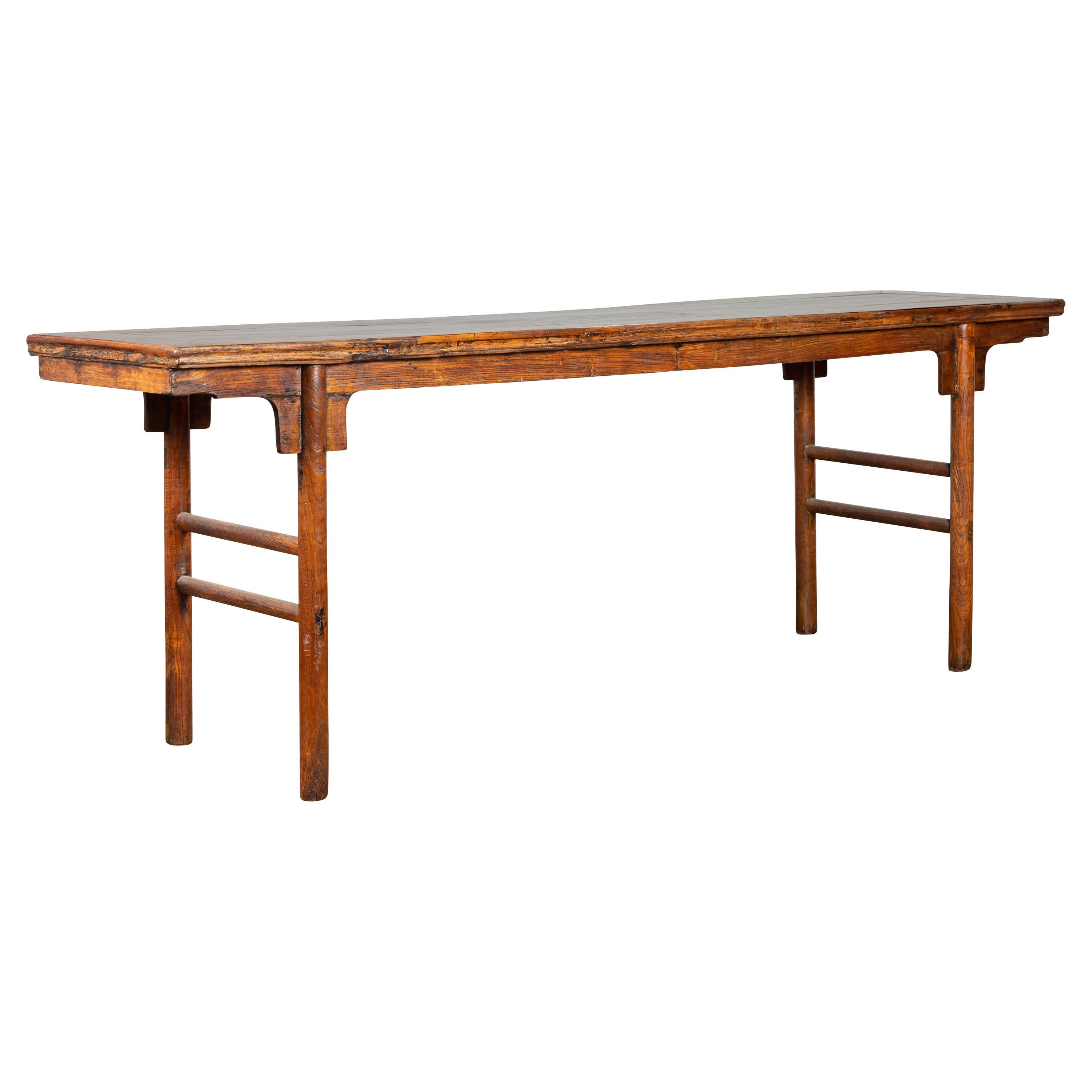 Chinese 19th Century Qing Dynasty Calligraphy Console Table with Carved Apron