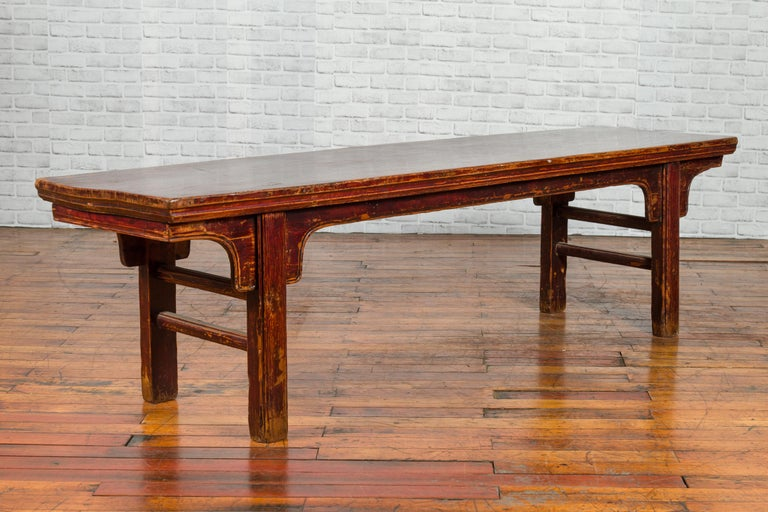 Chinese 19th Century Qing Dynasty Coffee Table with Distressed Patina In Good Condition For Sale In Yonkers, NY