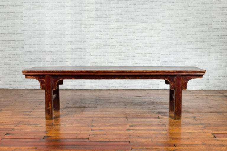 Wood Chinese 19th Century Qing Dynasty Coffee Table with Distressed Patina For Sale
