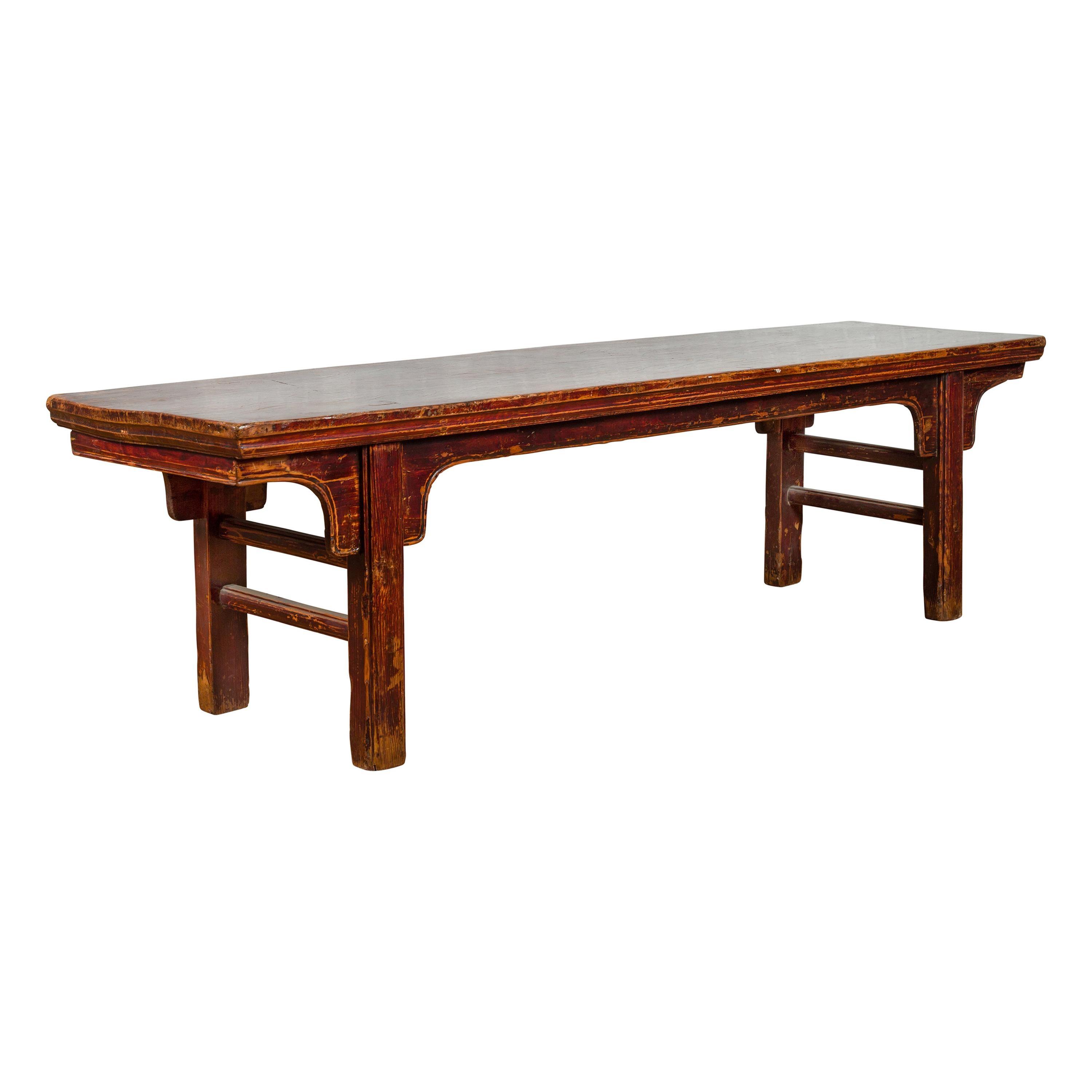 Chinese 19th Century Qing Dynasty Coffee Table with Distressed Patina