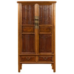 Chinese 19th Century Qing Dynasty Elm and Bamboo Noodle Cabinet with Drawers