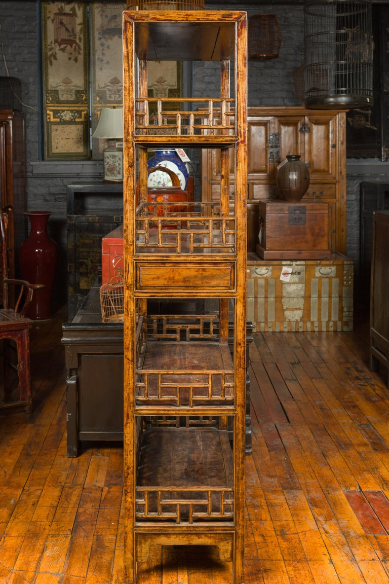 Chinese 19th Century Qing Dynasty Elm Bookcase with Fretwork Sides and Drawers For Sale 6