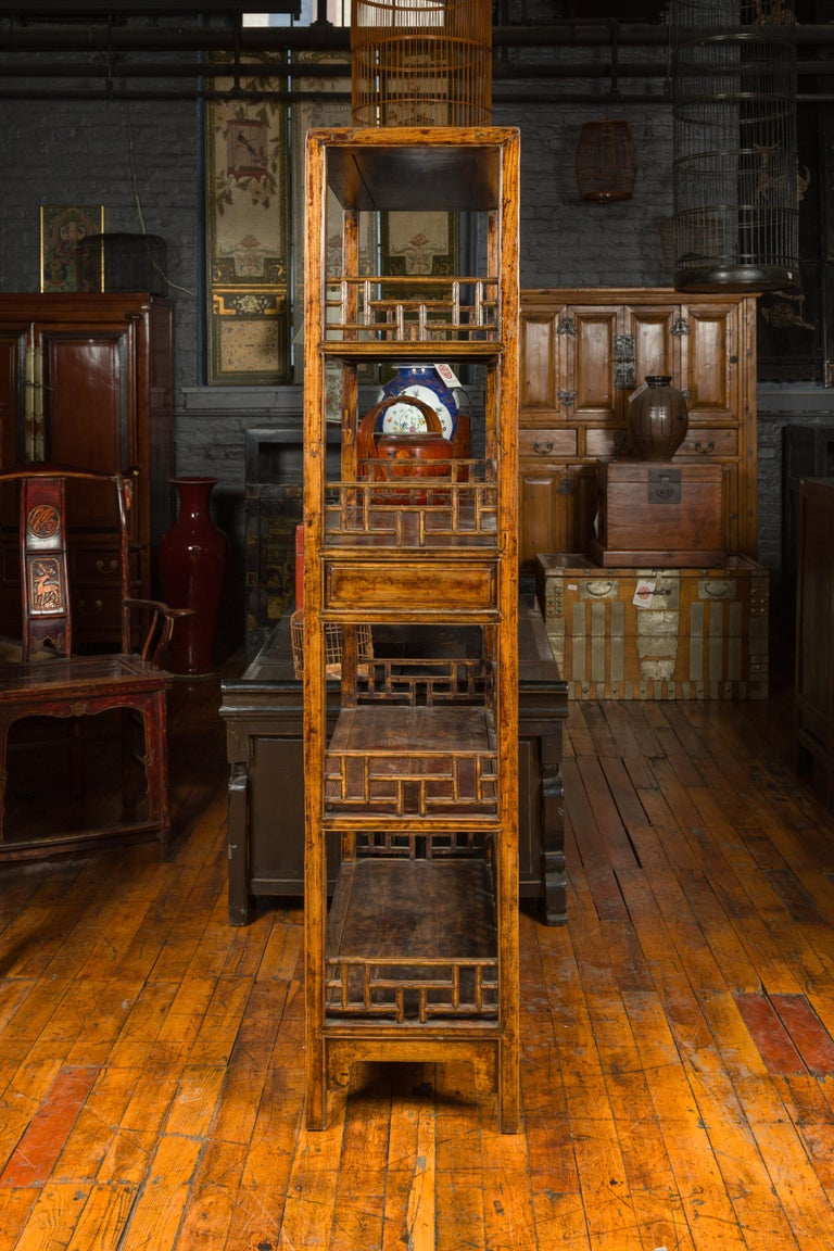 Chinese 19th Century Qing Dynasty Elm Bookcase with Fretwork Sides and Drawers For Sale 7