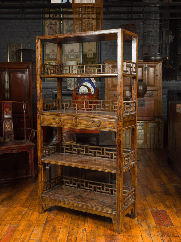 Chinese 19th Century Qing Dynasty Elm Bookcase with Fretwork Sides and Drawers For Sale 8