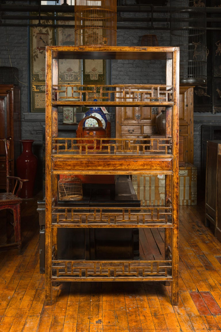 Chinese 19th Century Qing Dynasty Elm Bookcase with Fretwork Sides and Drawers For Sale 9