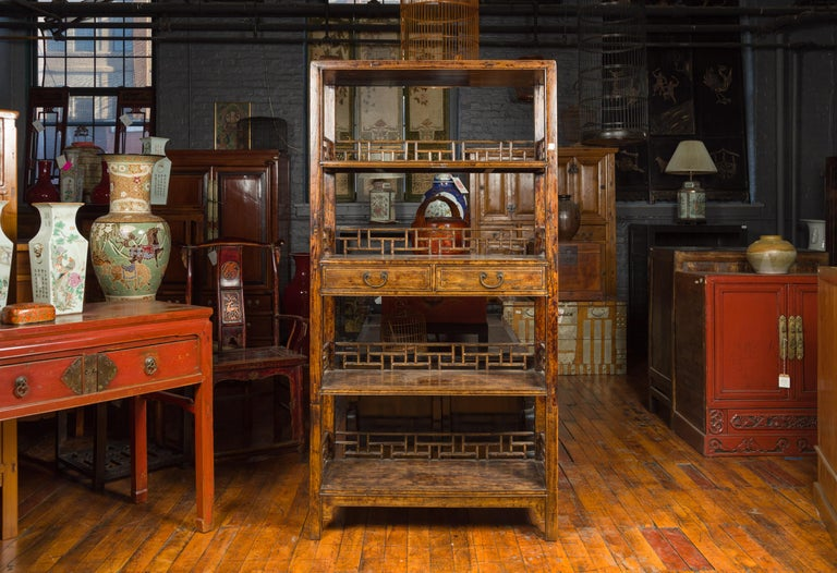 Stained Chinese 19th Century Qing Dynasty Elm Bookcase with Fretwork Sides and Drawers For Sale