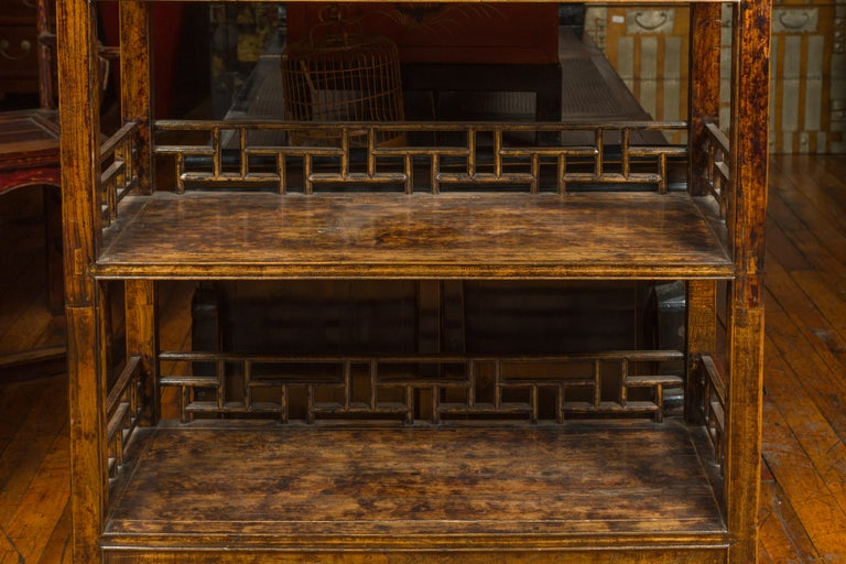 Chinese 19th Century Qing Dynasty Elm Bookcase with Fretwork Sides and Drawers For Sale 3