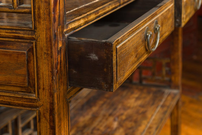 Chinese 19th Century Qing Dynasty Elm Bookcase with Fretwork Sides and Drawers For Sale 5