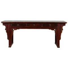 Chinese 19th Century Qing Dynasty Elm Low Console Table with Three Drawers